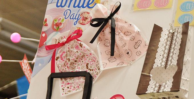 バレンタインデー柄リボン付巾着袋