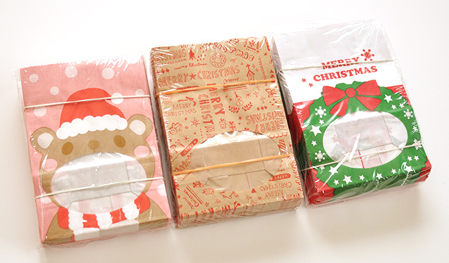 クリスマス柄 窓付紙袋