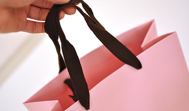 手提げ紐付きカラー紙バッグ