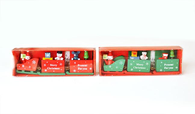 クリスマス木製そりディスプレイ