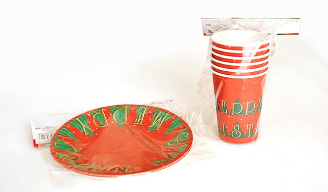 クリスマス柄紙皿・紙コップ