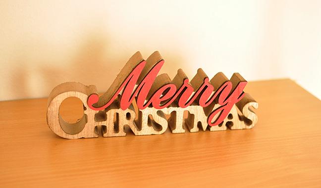 MERRY CHRISTMAS木製オーナメント