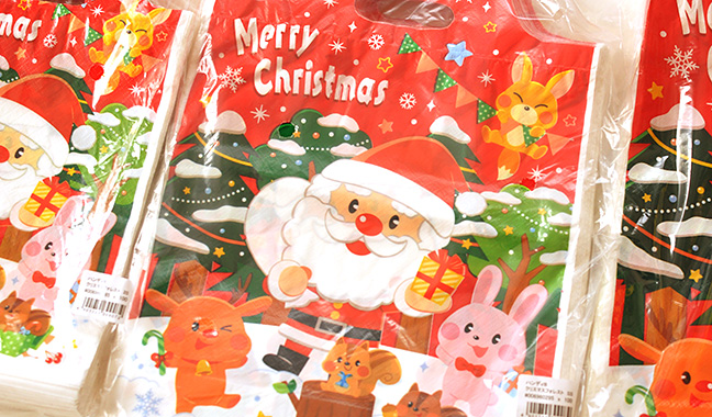 クリスマス柄手提げポリ袋