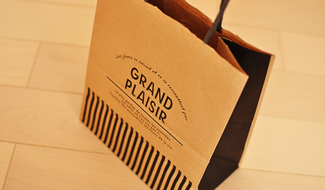 カフェ風クラフト手提げ紙袋