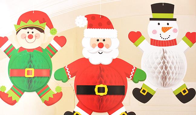 クリスマスペーパーハニカムデコレーション