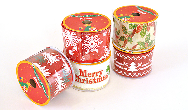 クリスマス ワイヤー入りディスプレイリボン