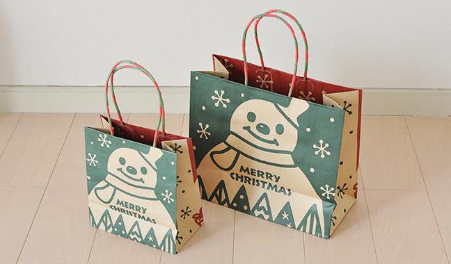クリスマス柄クラフト手提げ紙袋